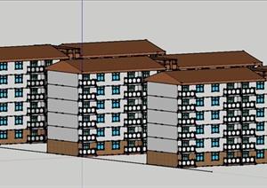 多层住宅设计CAD及简单模型