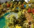 公园景观,植物,花架,水景,园路