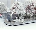 公園景觀,雪景,景墻,園路,植物