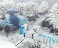 公園景觀,雪景,橋,園路,植物