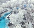 公园景观,雪景,花架,水体,植物