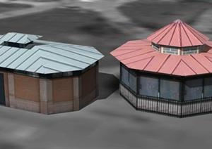 凉亭浴室建筑设计SU(草图大师)模型