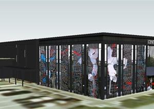 现代数字媒体中心建筑设计SU(草图大师)模型