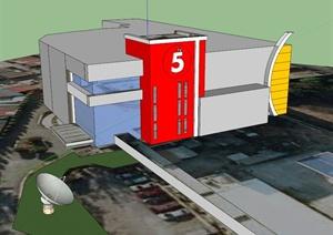 某电视台办公楼建筑设计SU(草图大师)模型