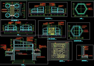 现代六边形采光井施工图