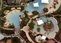 酒店景觀,水景,園路,張拉膜,茅草亭,植物,樹池