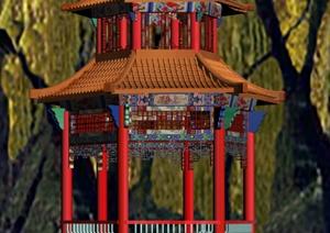 古典中式六角凉亭3dmax模型
