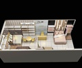 家居馆,家具陈设,床,桌椅,书柜