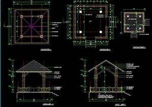 木质凉亭设计CAD施工图