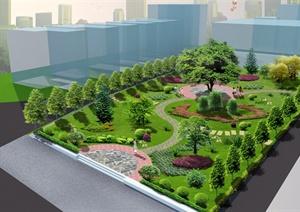 美麗鄉村文化小公園景觀設計PSD效果圖與JPG方案圖