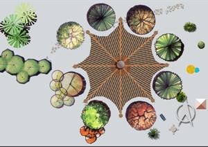 园林景观植物、凉亭PS顶面素材