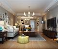 客厅,沙发茶几,边几,台灯,吊灯,陈列架,电视柜,落地灯,照片墙