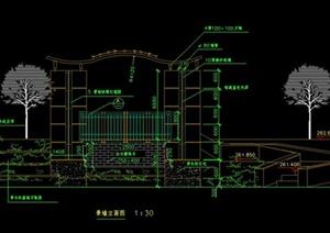 中式花池景墙设计CAD施工图