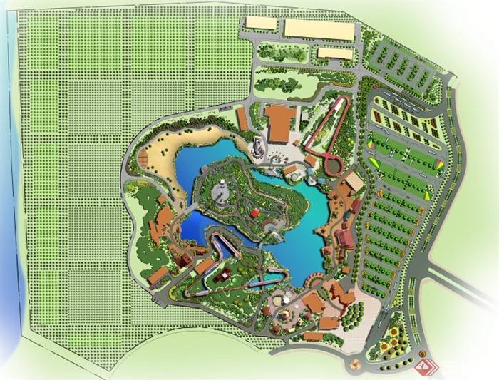 景观设计平面图ps_某湖泊休闲公园规划设计PS平面图