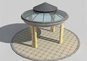 现代风格圆形景观凉亭3dmax模型