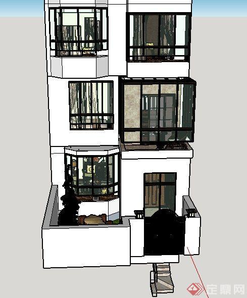 现代某三层别墅室内设计CAD施工图与SU模型(附带JPG效果图)(5)