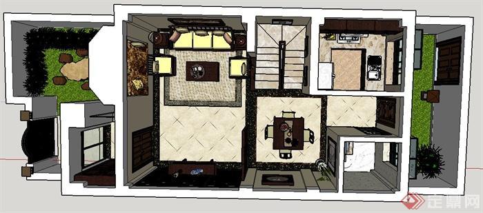 现代某三层别墅室内设计CAD施工图与SU模型(附带JPG效果图)(9)