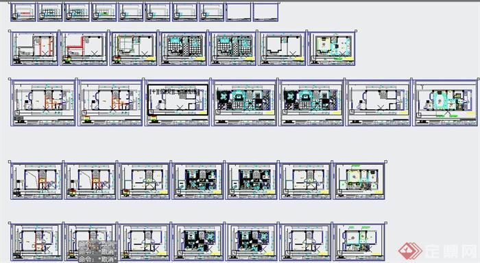 现代某三层别墅室内设计CAD施工图与SU模型(附带JPG效果图)(11)