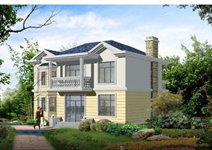 某两层乡村村民带阳台住宅建筑设计PDF施工图