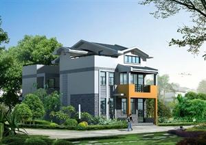 现代某两层半带露天阳台乡村村民住宅建筑设计PDF施工图