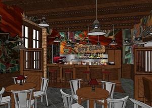 异国风情咖啡吧室内设计SU(草图大师)模型