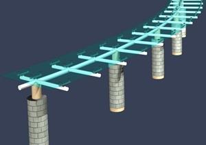 单柱弧形玻璃廊架设计MAX模型