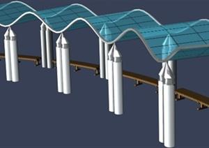 波浪形廊架设计MAX模型