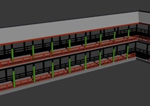 古中式双层长廊设计MAX模型