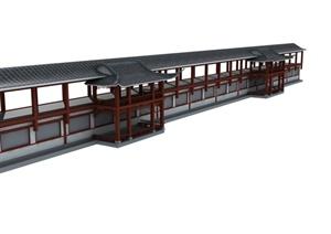 中式直行长廊建筑设计MAX模型