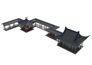 中式亭廊、建筑组合设计MAX模型