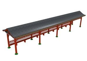 古中式单边坐长廊设计MAX模型