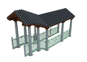 中式高低廊架设计MAX模型