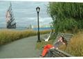 别墅景观,园路,路灯,座椅,植物
