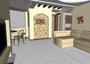 东南亚风格住宅装饰设计SU(草图大师)模型