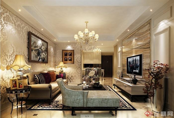 某现代一室两厅住宅空间设计SU模型(1)