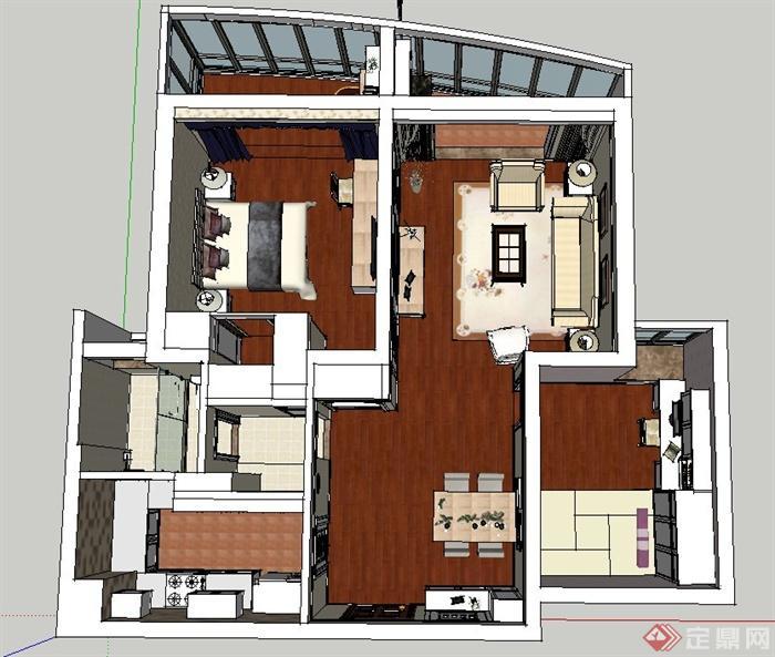 某现代一室两厅住宅空间设计SU模型(3)
