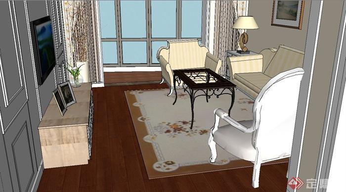 某现代一室两厅住宅空间设计SU模型(4)