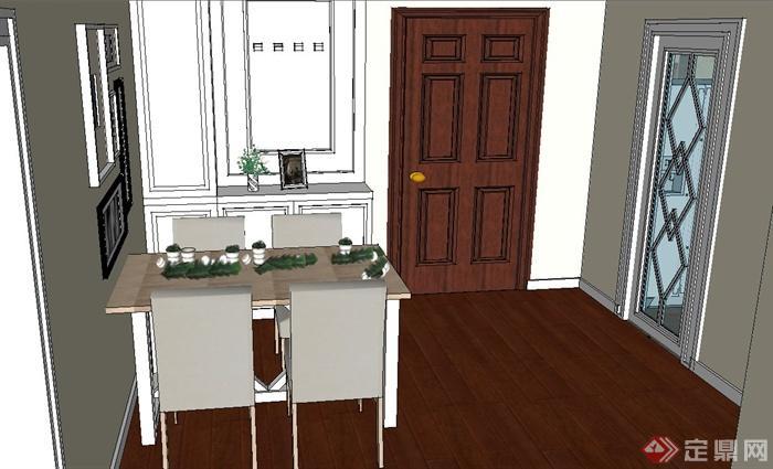某现代一室两厅住宅空间设计SU模型(5)
