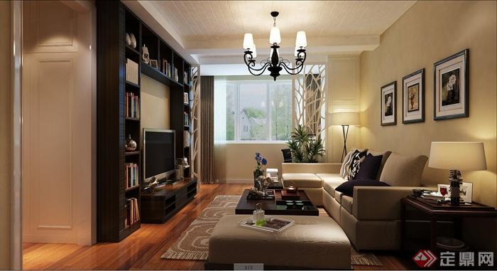 现代某两室一厅住宅空间室内装修设计SU模型+CAD施工图(1)