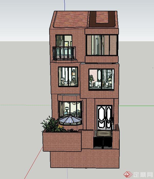 某三层欧式风格住宅建筑与室内设计SU模型(1)
