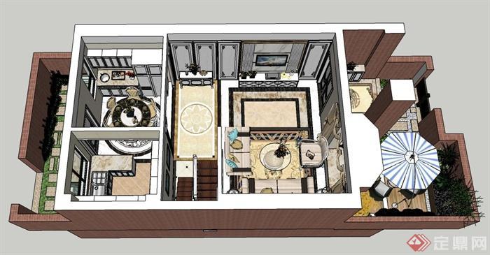 某三层欧式风格住宅建筑与室内设计SU模型(2)