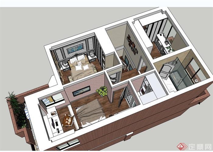 某三层欧式风格住宅建筑与室内设计SU模型(4)