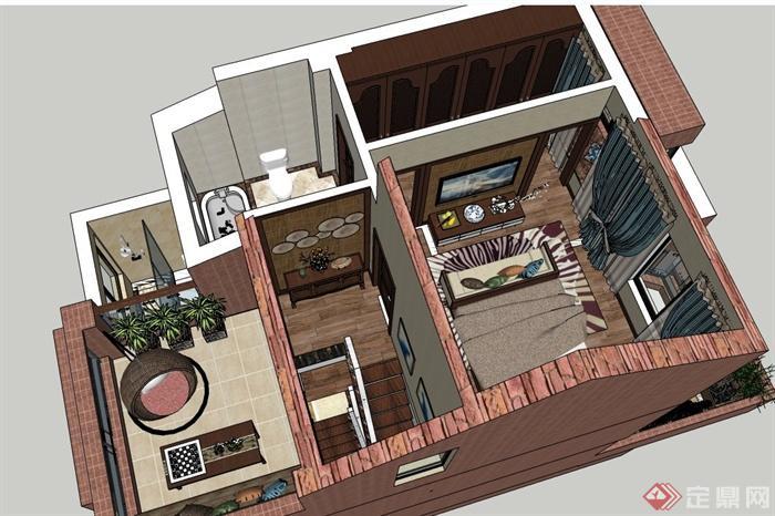 某三层欧式风格住宅建筑与室内设计SU模型(5)