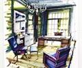 书房,办公桌,沙发,吊灯