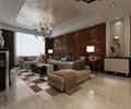 客厅,沙发,茶几,吊灯,天花吊顶,背景墙,装饰摆件,地毯,地面铺装