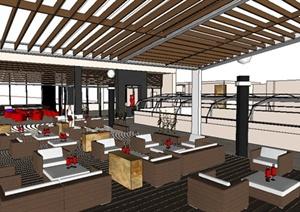 现代风格咖啡吧咖啡厅室内设计SU(草图大师)模型