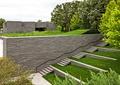 墓陵园,台阶,草坪,景墙,植物