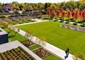 墓陵园,草坪,园路,植物