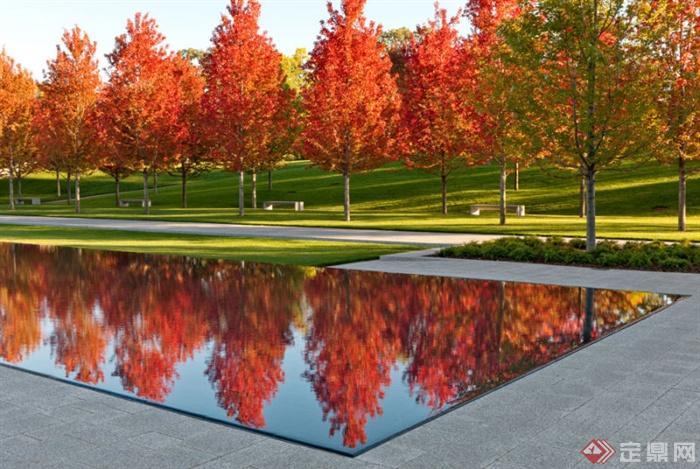 墓陵园,水景,乔木,草坪