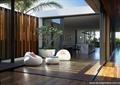 庭院景观,花钵,休闲坐凳,地面铺装,景墙